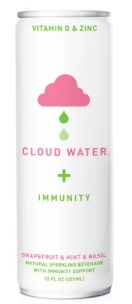Can of cloud water + immunity grapefruit, mint and basil