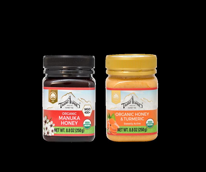 TrazAlpine Manuka's Organic Manuka Honey and Organic Honey with Turmeric