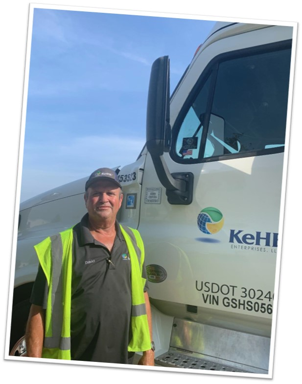KeHE truck driver, David, proud to show off his Truckers Against Trafficking certification