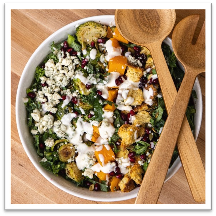 A winter salad with garlic parmesan crunch from Mason Dixie biscuits