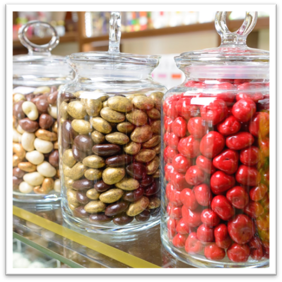 colorful candy in glass jars