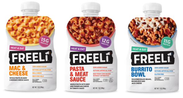 """Freeli is the first refrigerated, fresh nutritious meal in a """"touch-less"""" pouch. 11-15G protein per serving, zero or low added sugar, no artificial ingredients, ABF chicken & beef, whole grains, rBST free dairy & veggies!"""