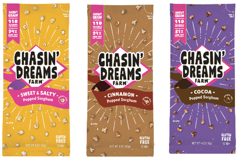 Chasin dreams popped sorghum snacks