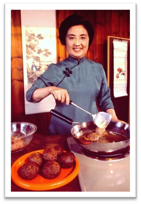 Joyce Chen, founder of Joyce Chen Foods, cooking a Chinese dish
