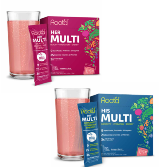 Root'd multivitamin formulated fizzy powder