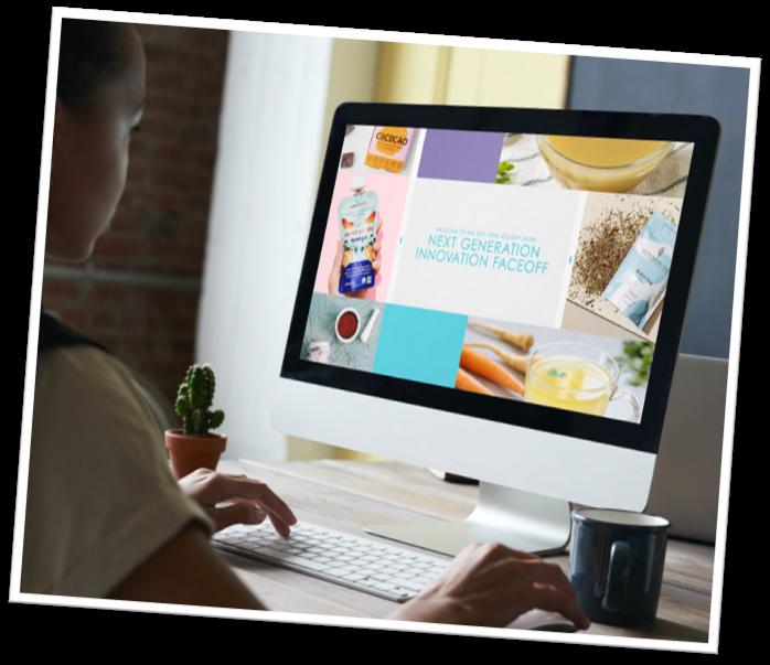 Women watching KeHE's Next Generation Innovation Faceoff on her desktop