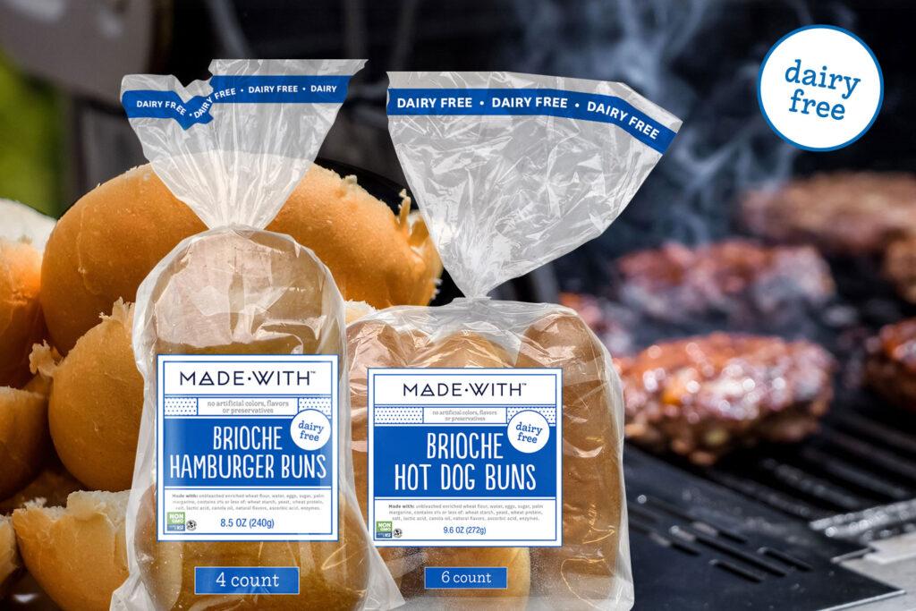 Made With Brioche Hamburger buns and Hot Dog Buns