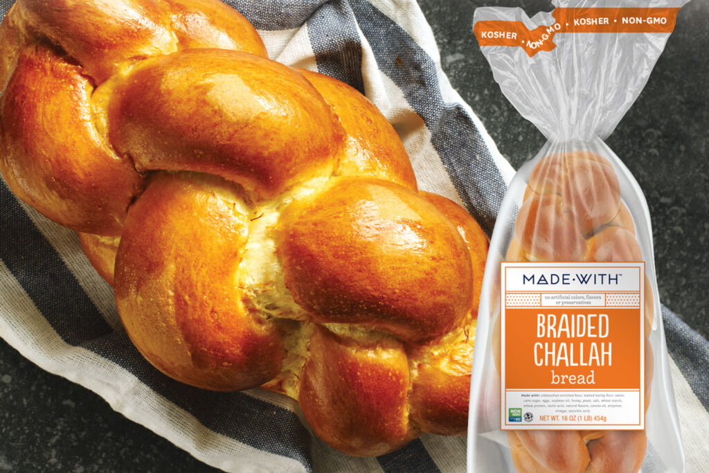 Made With non-GMO and kosher braided challah bread